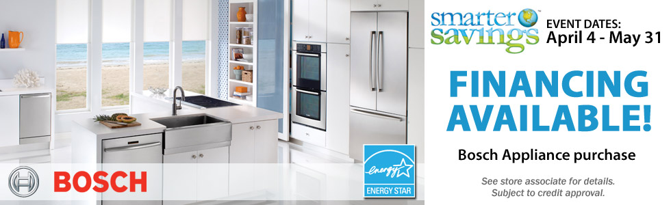 Financing Available on select Bosch Appliances