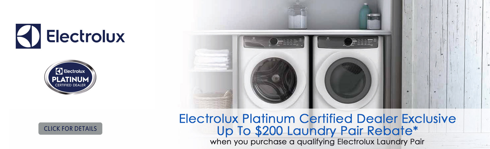 Save up to $200 with qualified Electrolux laundry pair rebate