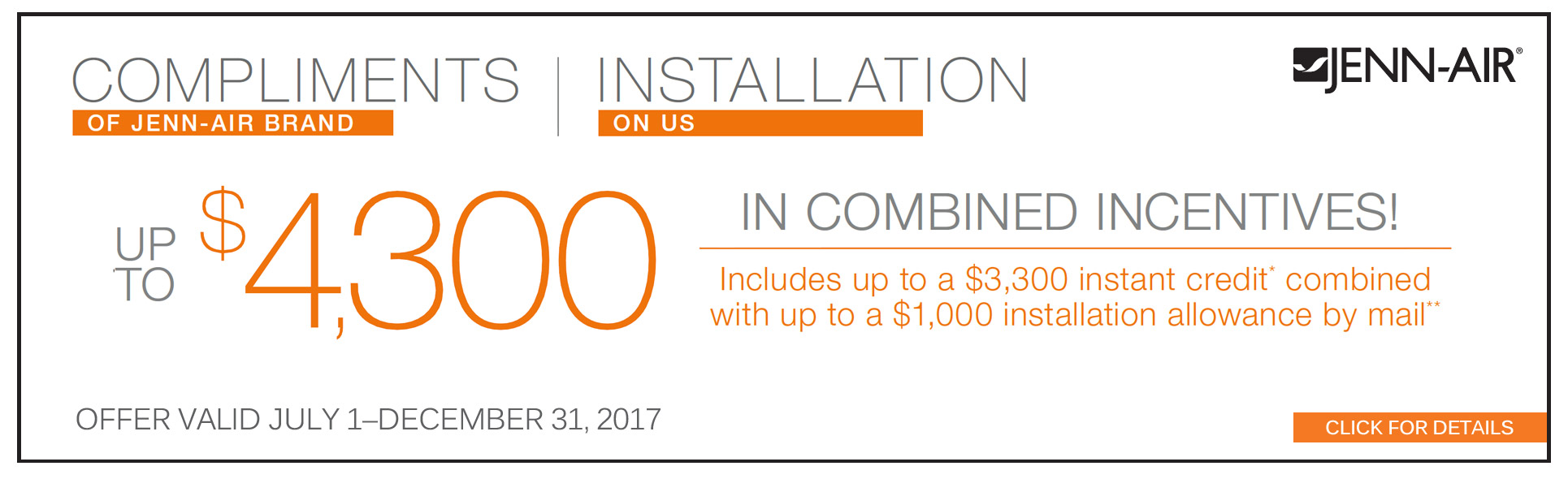 Save up to $4300 with select Jenn-Air appliance packages