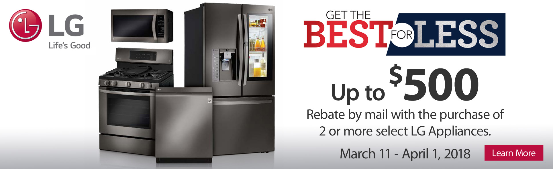 LG Appliances Best For Less- Save up to $500